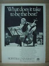 1985 Hofstra University Cello Vintage Print Ad 145