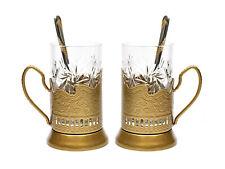 GOLD Set of 2 Russian Vintage Crystal Tea Glass & Handmade Holder Podstakannik