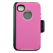 For Apple iPhone 4/4s Heavy Duty Defender Case W/Belt Clip&Screen Pink White