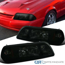 Fit Ford 87-93 Mustang Replacement Smoke 1-Piece Style Headlights Head Lamps