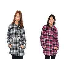 women Coat The Plaid Way Button Up wool jacket blazer outwear Fuchsia size S