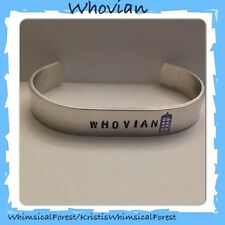 Handmade Dr Who Inspired Whovian with TARDIS Police Box Stamped Cuff Geeky Gift