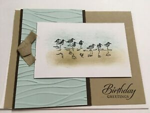 Stampin Up Handmade Greeting Sandpipers Beach Happy Birthday