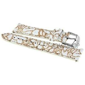 Michele 18 Mm Neutral Floral Fashion Patent  Strap MS18AA350976