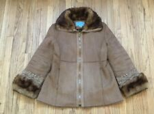 Nine West Faux Brown Leather Jacket Womens Medium Embroidered Design Faux Fur