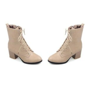 Women Combat Ankle Boots Leather Block Heels Lace Up Solid Plus Size New Shoes