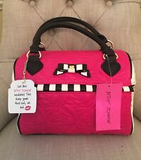 Betsey Johnson Speedy Lunch Box Tote Bag Insulated Pink w/black Stripes NWT $58