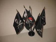 "Jolly Roger JR Pirate 5 Flag Set 5 Flags 4""x6"" Desk Set Table Stick Black Base"