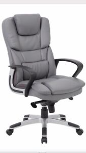 Brand New Grey Palmero High Back Executive Faux  Leather Office Desk Chair