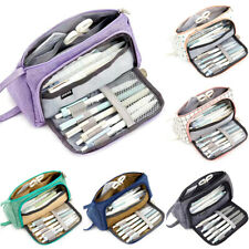 Kids Pencil Case Double Zip School Stationery Pen Bag Pouch Cosmetic Bags Large