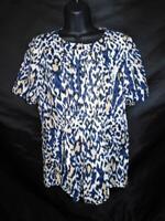 Tahari M Beige Blue Black Leopard Print Blouse Short Sleeve Shirt Snap Cotton