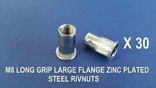30 X LONG GRIP STEEL ZINC PLATED RIVNUTS M8 NUTSERT LARGE FLANGE NUTSERTS RIVNUT