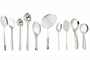 Stainless Steel Cooking and Serving Spoon Set, 10-Pieces, Silver