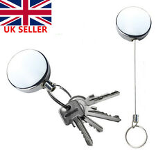 2x Recoil Extendable Metal Wire 60cm Key Chain Ring Clip Pull Keyring Retracting