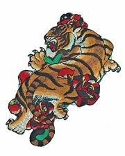 DIY Large Tiger Embroidered Patch Japanese Tattoo Roses Iron on Sew on Applique