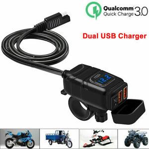 Dual Waterproof USB Port Motorbike Motorcycle Charger Socket Black Power Adapter