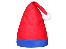 Cappello Babbo Natale (wm-43) cappellino rosso con inserto blu taglia unica