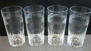 Tumblers 4 Cut Glass Ice tea Water Highball vertical cuts w crosshatch diamond