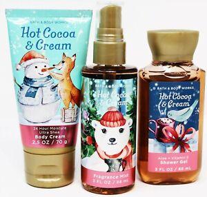 x3 Bath & Body Works HOT COCOA & CREAM Travel Set Body Spray Shower Gel Lotion