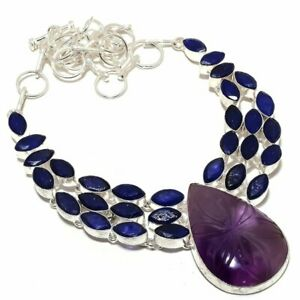 """Carved African Amethyst, Sapphire 925 Sterling Silver Jewelry Necklace 16-18"""""""