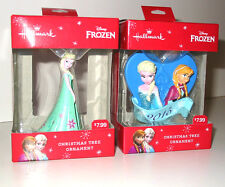 2 Lot Hallmark Frozen Christmas Ornament Green Dress Elsa Anna 2015 Sisters RARE