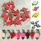 200 Ribbon Rose DIY Wedding Flower Satin Decor Bow Appliques Craft Sewing Leaves