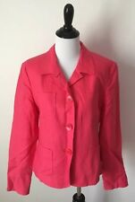 Talbots Jacket Blazer 10 Salmon Pink Irish Linen Button Down Front Pockets New