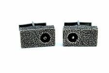 Rare SIGNED Vintage Canadian Modernist GUY VIDAL Pewter Brutalist Cufflinks