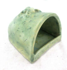 """Frog House Toad Terrarium Decor Fish Tank Green Ceramic Signed 3""""tall 3-5/8""""wide"""