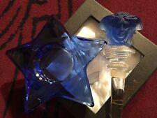 VERSACE MEDUSA DECANTER STOPPER W CRYSTAL STAR VOTIVE CANDLE BLUE ROSENTHAL NEW