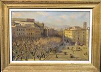 Spanish Impressionist Street Scene Of Barcelona City Landscape 1942 Oil Painting