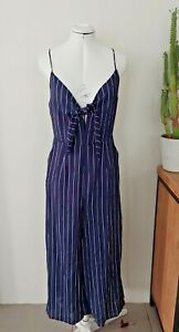 PERFECT STRANGER Blue and White Stripe Jumpsuit - Culotte length pant, Size 10