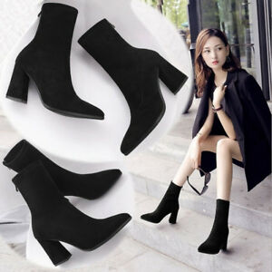 Women's Sexy Block High Heels Back Zipper Pointed Toe Ankle Boots Black Shoes