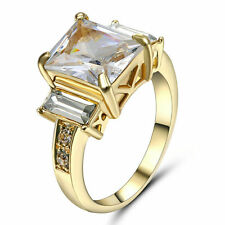 Size 6 Silver CZ White Sapphire Wedding Ring Women's Gold Rhodium Plated Gift