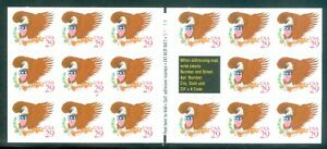 US 2595a brown 29c eagle booklet pane of 17 MNH P#S-1111 issued sept.25 1992