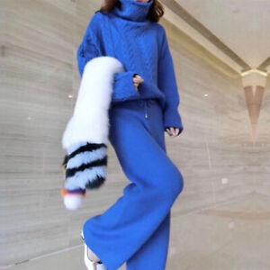 Women Twist Knitted High-Neck Wool Sweater Loose Wide-leg Pants 2Pcs Suit Winter