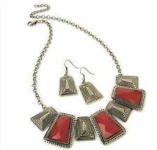 Rosso e Collana oro spazzolato-Stile Etnico Azteco Navajo