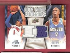 acae9f3fe72c ALLEN IVERSON   CHAUNCY BILLIUPS 2 GAME USED JERSEY CARD 2009-10 DUAL  MATERIALS