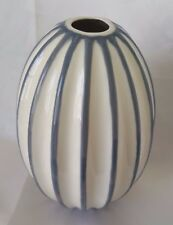 New Dwell Studios Global View Gray & Off White Cream Striped Modern fluted Vase
