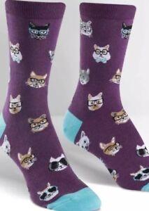 Sock It To Me Women's Smarty Cat Crew Socks Purple Size 5-10 NWT