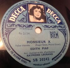 EDITH PIAF 78 RPM WITH PICTUR ON THE LABEL