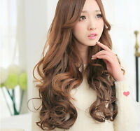 "Brown 19"" Long Curly Wavy Women Lady Beauty Anime Cosplay 5 Clip Wigs Heat Resis"