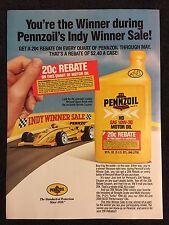 Vintage 1986 Original Print Ad PENNZOIL Motor Oil Indy Winner Rebate Sale