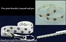 Paw Print Bracelet Lanyard ID Badge Key Chain Ring & Pen Dog Cat Gift Set White
