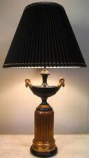 HOLLYWOOD REGENCY NEOCLASSICAL CHAPMAN URN LAMP SWAN BLACK GOLD GRECIAN