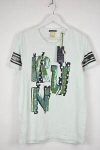 SCOTCH & SODA Men's ~MEDIUM Mint RUN Letters Print Striped Crew T-shirt 11289 mm