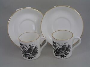 TWO CROWN STAFFORDSHIRE THOMAS BERWICK LESSER REDPOLE COFFEE CANS AND SAUCERS
