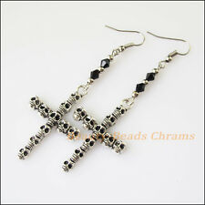 Winsome Silver Retro Skull Cross Black Crystal Dangle Hook Earring Women Jewelry