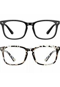 Blue Light Blocking Glasses Square Computer Glasses Women/Men,Wearpro 2PACK Nerd