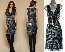 MONSOON Teal Vanisha Peacock Silk V-Neck Shift Cocktail Dress 8  EU 36  £99